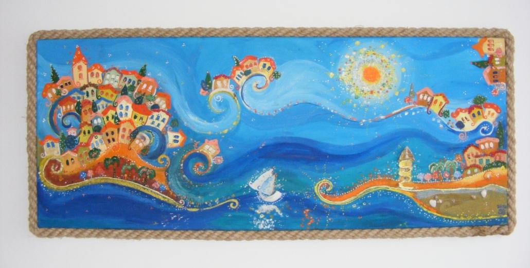 Tengerfalvak, vászon, olaj, vegyes technika, 50 x 120 cm