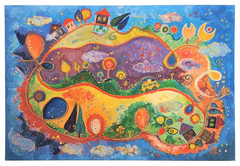 A képzelet határa, vászon, olaj,                             vegyes technika, 50 x70 cm